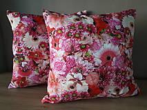 Úžitkový textil - Kvetinové sady (Ružové kvety) - 10399135_
