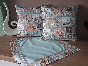 Úžitkový textil - Sada obliečok a prestierania (Hnedé domčeky s mintovou) - 10399114_
