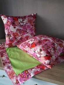 Úžitkový textil - Sada obliečok a prestierania (Ružové kvety) - 10399127_