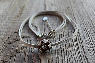 Náhrdelníky - náhrdelník hnedo-maslová gulička (náhrdelník hnedo-maslová gulička) - 10400641_