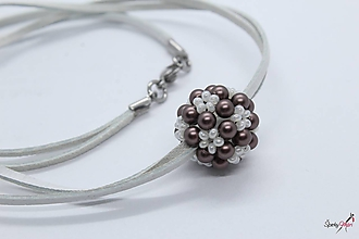Náhrdelníky - náhrdelník hnedo-maslová gulička (náhrdelník hnedo-maslová gulička SW) - 10400644_