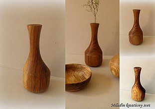 Dekorácie - drevená váza... - 10400159_