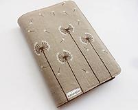 - Obal na knihu - Púpavky (natur 100%ľan) - 10399171_