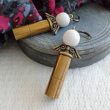Náušnice - anjelské náušnice z nábojnice biele - 10398789_