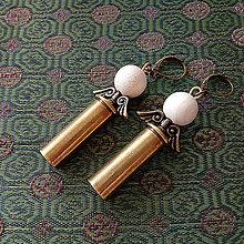Náušnice - anjelské náušnice z nábojnice prírodné - 10399008_