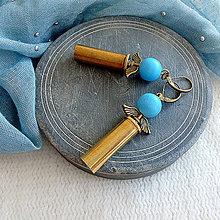 Náušnice - anjelské náušnice z nábojnice svetlo modré - 10399031_