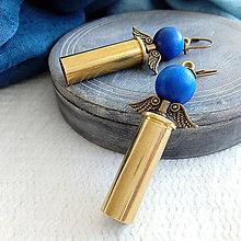 Náušnice - anjelské náušnice z nábojnice tmavo modré - 10399110_