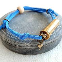 Náramky - Šnúrový kožený náramok s nábojnicou - 10400772_