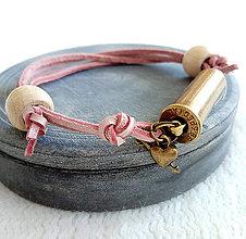 Náramky - Šnúrový kožený náramok s nábojnicou staroružový - 10400804_