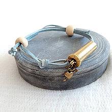 Náramky - Šnúrový kožený náramok s nábojnicou šedomodrý - 10400822_