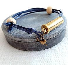 Náramky - Šnúrový kožený náramok s nábojnicou tmavo modrý - 10400848_