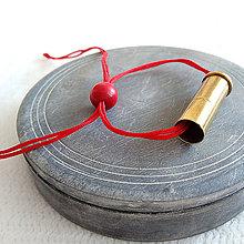 Náramky - Shamballa šnúra s nábojnicou červená - 10400878_