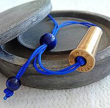 Náramky - Shamballa šnúra s nábojnicou modrá - 10400890_