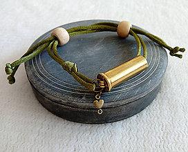 Náramky - Šnúrový náramok s nábojnicou olivový - 10400906_