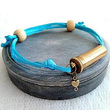 Náramky - Šnúrový saténový náramok s nábojnicou tyrkysový - 10400935_