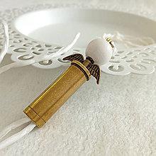 Náramky - Hodvábny náramok s nábojnicovým anjelikom - 10401010_