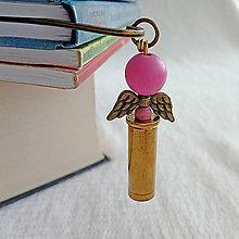 Papiernictvo - záložka nábojnicový anjel ružový - 10401379_