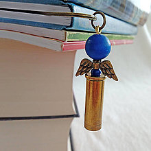 Papiernictvo - záložka nábojnicový anjel tmavo modrý - 10401428_