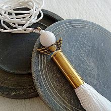 Náhrdelníky - Biely anjel z nábojnice - 10401570_