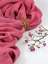 Šatky - Ľanová dámska elegantná šatka malinovoružovej farby