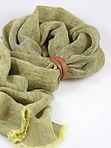 Šatky - Ľanová elegantná šatka zelenohnedej farby