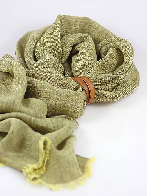 Ľanová elegantná šatka zelenohnedej farby
