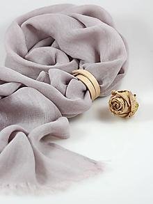 Šatky - Jemná ľanová šatka pastelovošedej farby