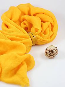 Šatky - Ľanová pôvabná šatka žiarivožltej farby