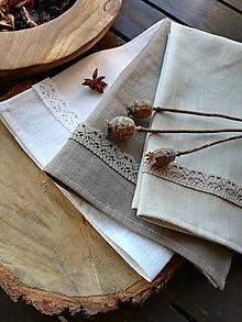 Úžitkový textil - Ľanová kuchynská utierka  (Hnedá) - 10398337_