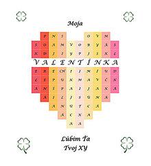 Grafika - Srdce - meno na želanie s komplimentmi - pestré - 10401439_