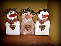 Dekorácie - drevený svietnik snehuliak - 10398344_