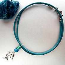 Náhrdelníky - Přívěšek delfín s apatitem a tyrkysem - 10400496_