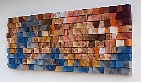 Dekorácie - Závesný drevený mozaikový 3D obraz - 10401579_