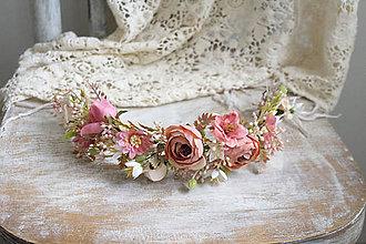 Ozdoby do vlasov - Kvetinový polvenček ,,coral,, - 10398319_