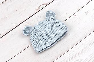 Detské čiapky - Bledomodrá čiapka macko zimná EXTRA FINE - 10399572_