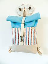 Batohy - Rolltop batoh modro-hnedý pásik - 10398436_