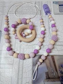 Detské doplnky - Trojsetík hryzátko, na cumlík, náhrdelník - 10399882_