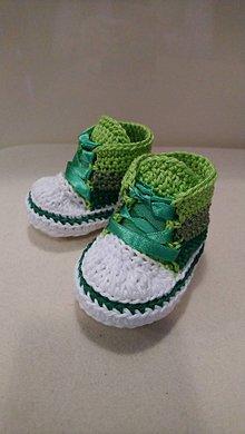 Topánočky - Háčkované tenisky 3 farby - zelené SKLADOM - 10399457_