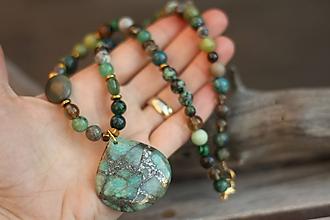 Náhrdelníky - Náhrdelník s minerálmi jaspis, záhneda, tygrie oko, zoisit - 10399240_