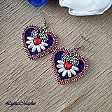 Náušnice - Mini folk náušnice (Biela- modrá- červená) - 10400409_