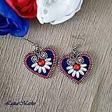 Náušnice - Mini folk náušnice (Biela- modrá- červená) - 10400410_