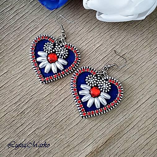 Mini folk náušnice (Biela- modrá- červená)