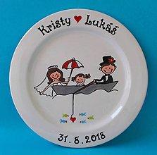 Nádoby - Svadobný tanier - na loďke - 10401718_