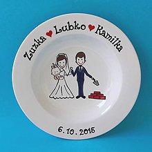 Nádoby - Svadobný tanier - ženích murárom - 10401721_