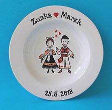 Nádoby - Svadobný tanier - v detvianskom kroji - 10401727_