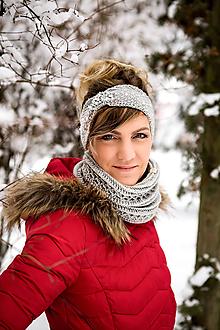 Ozdoby do vlasov - Sivá čelenka s perličkami (Modrá) - 10401067_