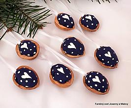 Dekorácie - vianočné Oriešky Modré Bodkované 2 - 10399406_
