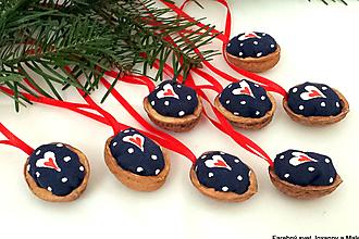 Dekorácie - vianočné Oriešky Modré bodkované - 10399426_