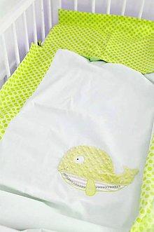 Textil - Obliečky jabĺčkovo zelené 40x60/100x135cm Kolekcia Rybka - 10402507_