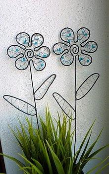 Dekorácie - kvet do kvetináčika (Tyrkysová) - 10402288_